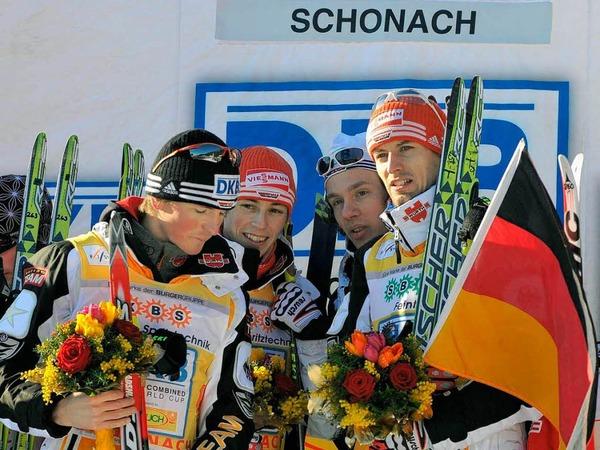 Georg Hettich (l.vorne) und Bj�rn Kircheisen (r.vorne), Eric Frenzel (l.oben) und Tino Edelmann (r./oben).