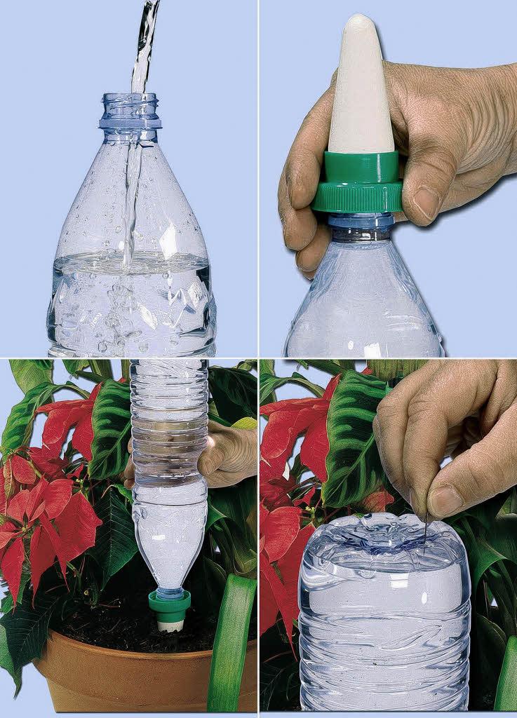 Автополив из пластиковых бутылок на даче