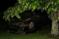 Auto landet im Obstgarten