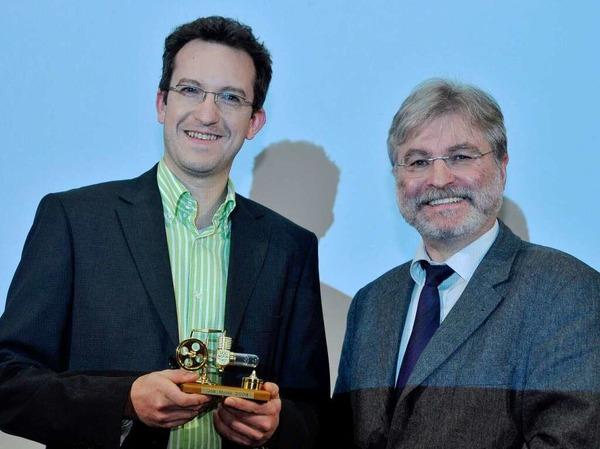 BZ-Chefredakteur Thomas Hauser (re.) mit Yatego-Geschäftsführer Stephan Peltzer.