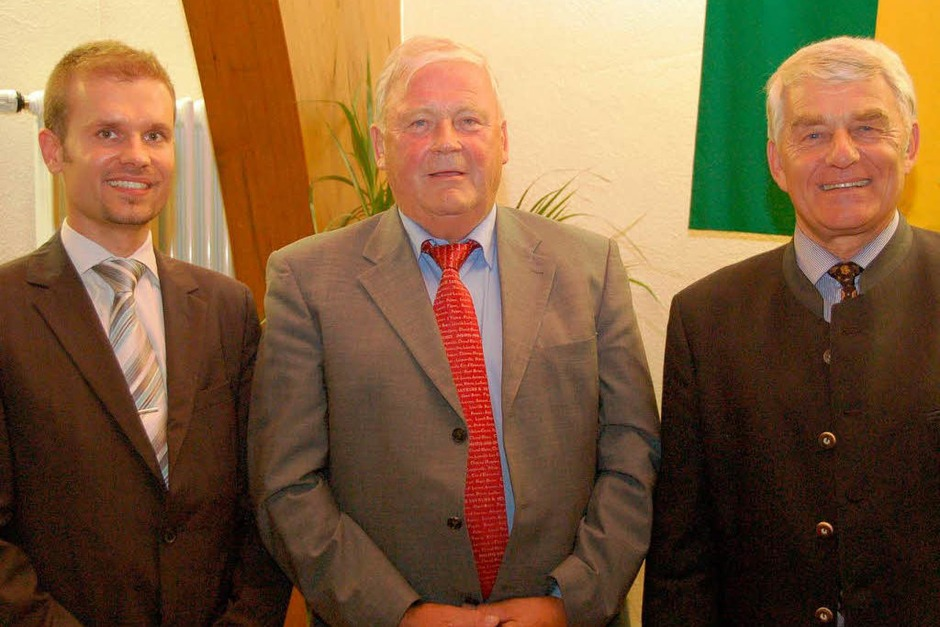 Drei Generationen Merzhauser Bürgermeister (von links): Christian Ante, Werner Dammert, Eugen Isaak (Foto: Tanja Bury)