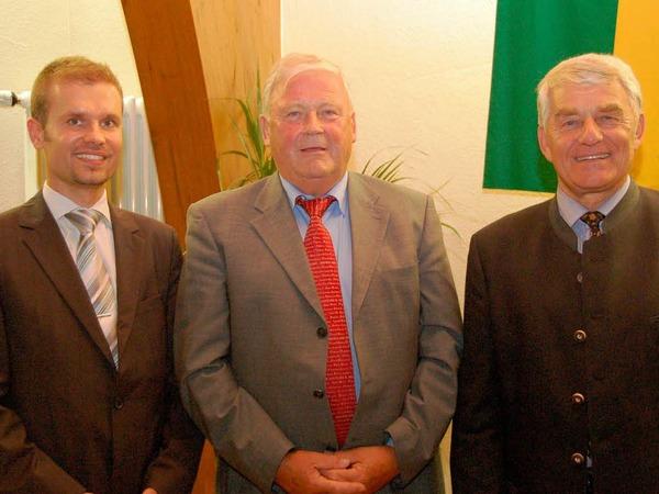 Drei Generationen Merzhauser Bürgermeister (von links): Christian Ante, Werner Dammert, Eugen Isaak