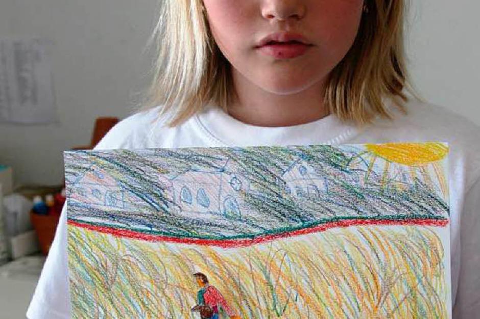Die Zisch-Kinder der Klasse 4c der Hans-Thoma-Schule und ihr Kunstwerk<?ZP?> (Foto: Yvonne Weik)