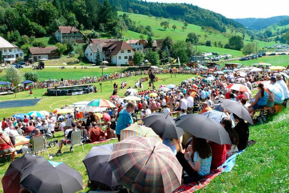 Bei sommerlicher Hitze kam auf der Dorfwiese in Prinzbach eine schottische Atmosphäre auf. (Foto: Frank Leonhardt)