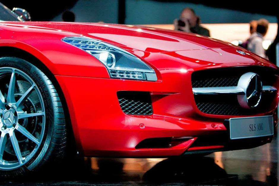 Eines der IAA-Highlights: Der Mercedes-Benz SLS AMG (Foto: Dominic Rock)