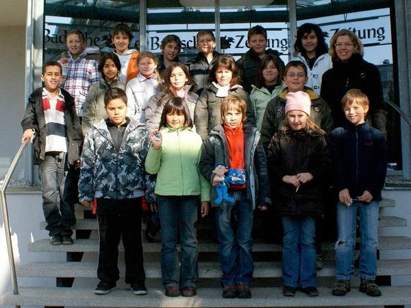 Die Klasse 4b der Gerhart-Hauptmann-Schule mit Lehrerin Frau Stigler