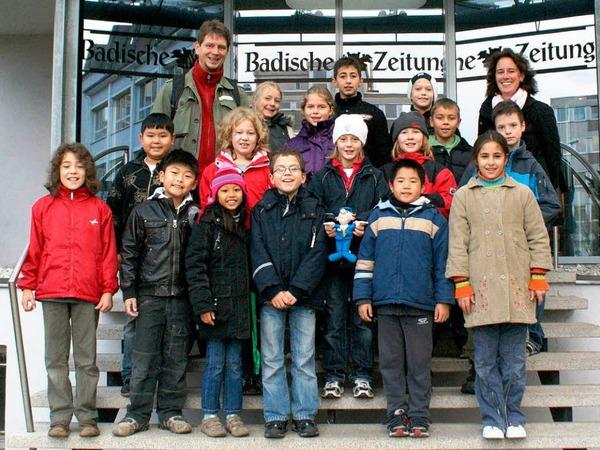 Die Klasse 4a der Gerhart-Hauptmann-Schule mit Lehrerin Frau Huber
