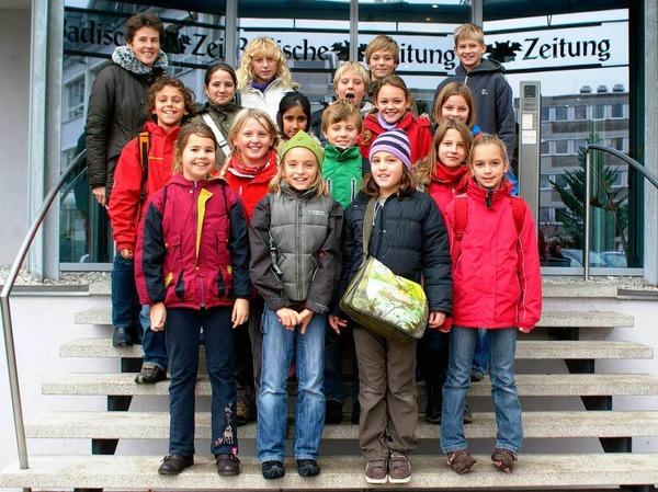 Die Klasse 4a der Lindenbergschule mit ihrer Lehrerin Frau Tomas