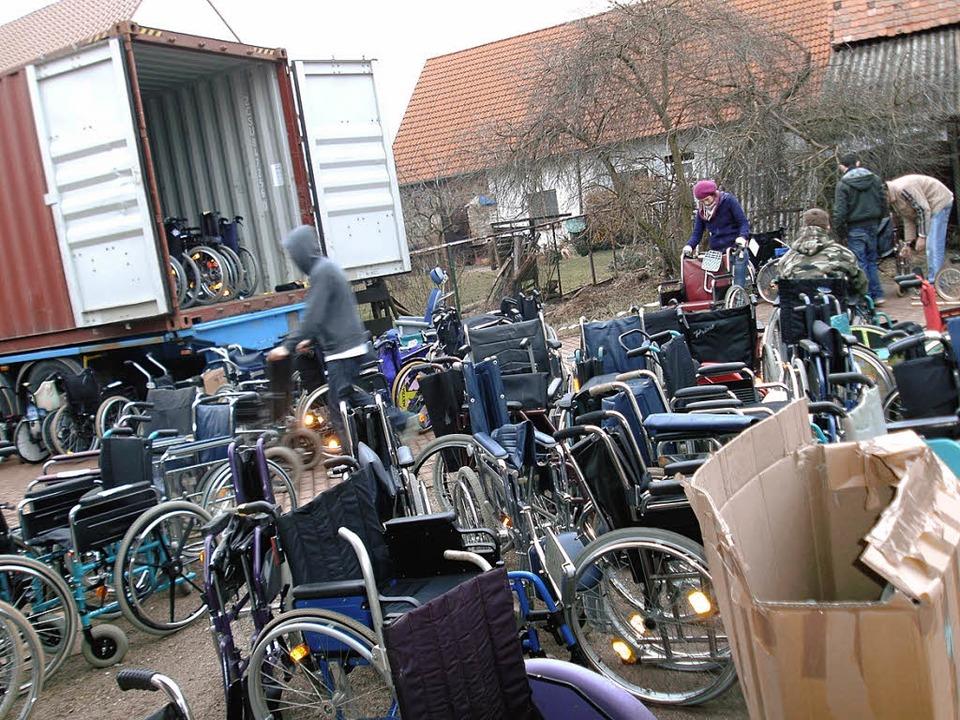 In Heidelberg wurde der Container mit ...en der Fahrnauerin Anna-Lena Kienzler.    Foto: privat