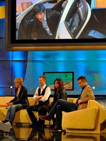 Gäste von Frank Elstner: Ulla Kock am Brink, Michael Kessler, Simone Thomalla, Kai Pflaume (vlnr.)