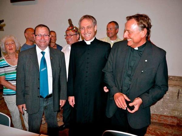 Oberzunftvogt Markus Weber, Georg Gänswein und Claudius Stoffel.