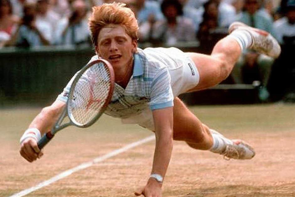 """Seinen berühmten """"Becker-Hecht"""" zeigte der junge Bummbumm-Boris 1985 auch in Wimbledon. (Foto: dpa )"""
