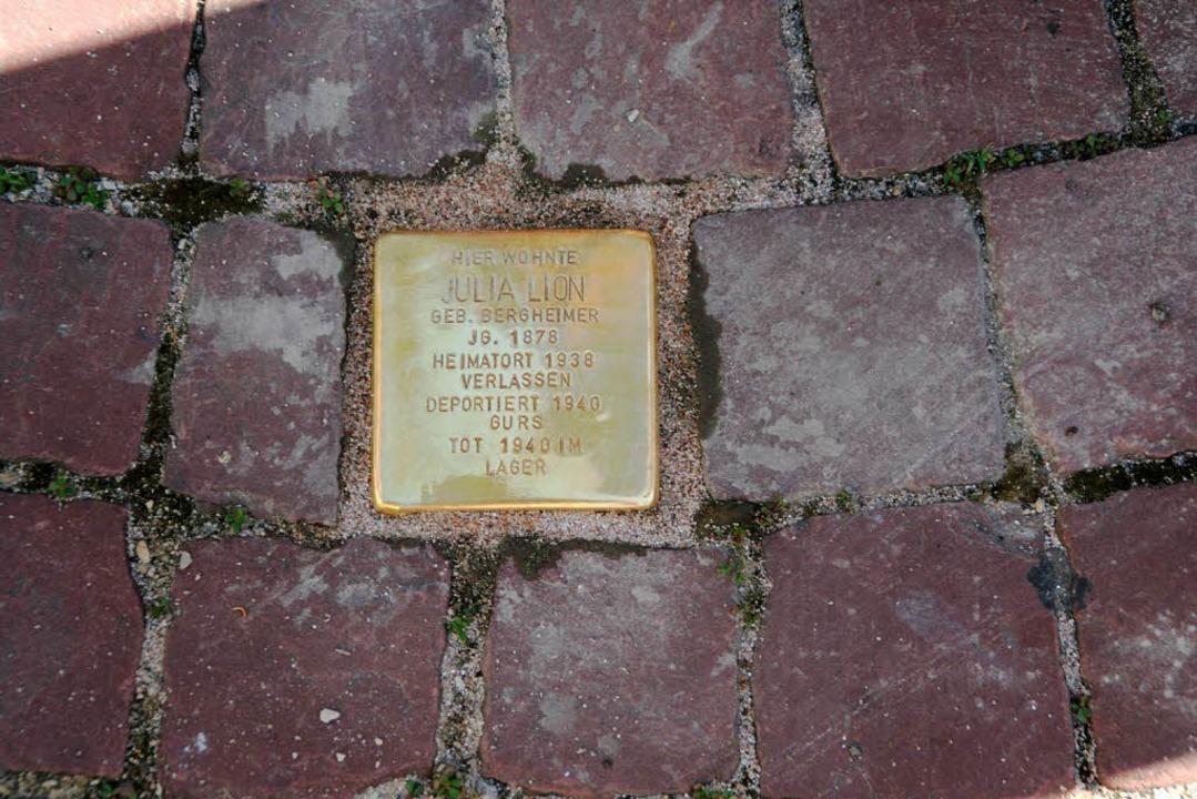 Pflaster gegen das Vergessen: Stolperstein in Ettenheim.  | Foto: erika sieberts