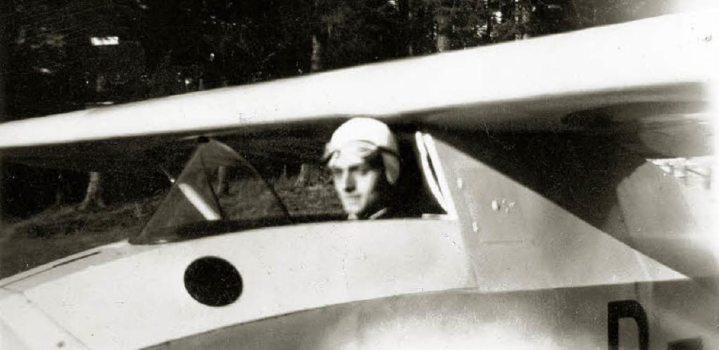 Hermann Kramer in jungen Jahren als Segelflieger    Foto: Privat