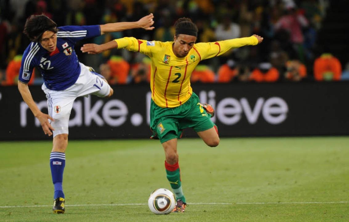 Der japanische Stürmer Kisho Yano (lin...ziger Einsatz bei der WM in Südafrika.  | Foto: ImageForum