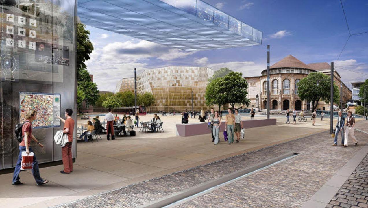 Das Platzhaus (links) und die Steinmau...n des Gemeinderats zum Opfer gefallen.  | Foto: visualisierungen: www.gd90.de