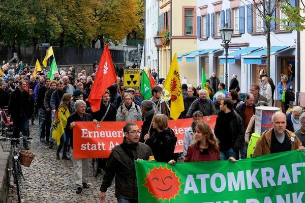 Gegen Atomkraftwerke gingen die bundesweiten Proteste - so auch in Freiburg.