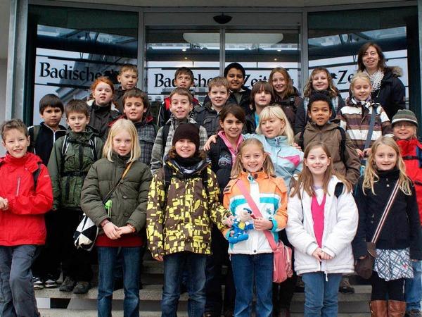 Die Klasse 4c der Johann Heinrich von Landeck Schule aus Bad Krozingen mit ihrer Lehrerin Frau Wahl.