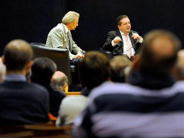 Baden-W�rttembergs Ministerpr�sident Stefan Mappus bei der BZ-Diskussion im Paulussaal in Freiburg....