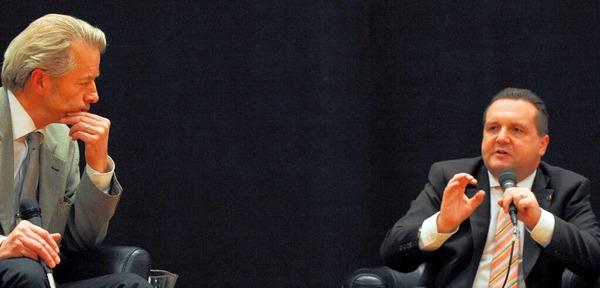 Baden-W�rttembergs Ministerpr�sident Stefan Mappus bei der BZ-Diskussion in Freiburg<?fett?> <?_fett?>