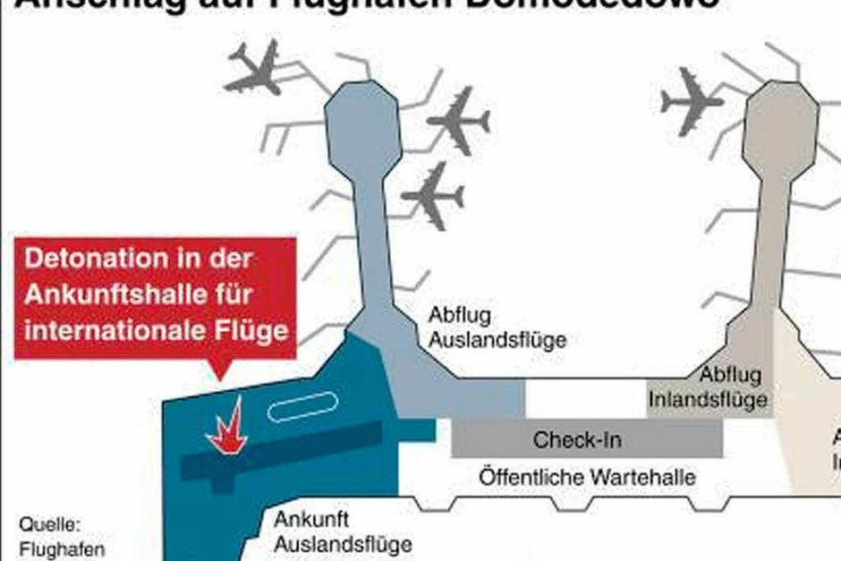 In welchem Flughafenteil ereignete sich der der Anschlag? (Foto: dpa-infografik)