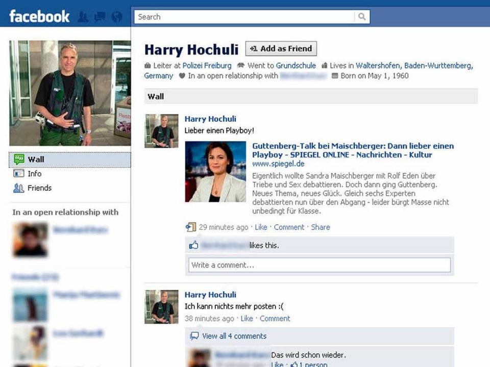 Der angebliche Harry Hochuli bei Facebook  | Foto: N.N.