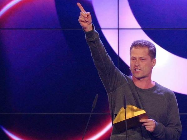 Der deutsche Schauspieler  Til Schweiger bei seiner Rede in Berlin.