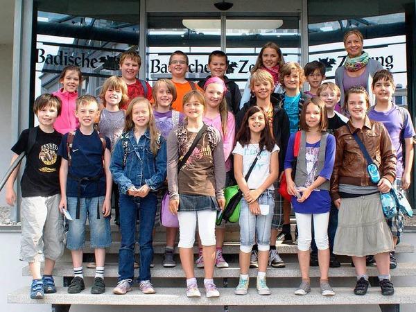 Die Klasse 4b der GWRS aus Rust mit ihrer Lehrerin Melanie Scheerer