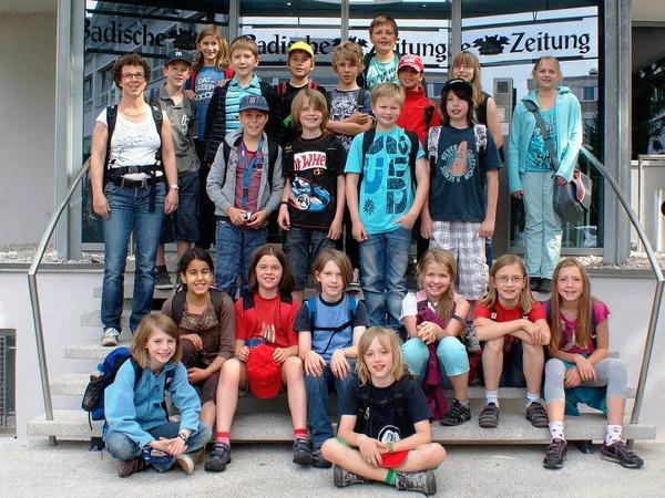 Die Klasse 4a der GWRS aus dem Vorderen Kandertal mit ihrer Lehrerin Eveline Bayer