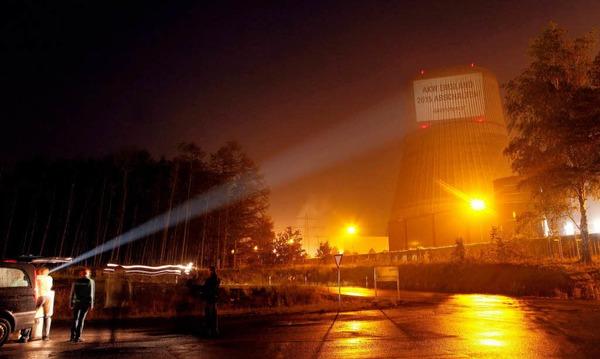 Greenpeace-Protest  an allen neun noch laufenden Atomreaktoren in Deutschland