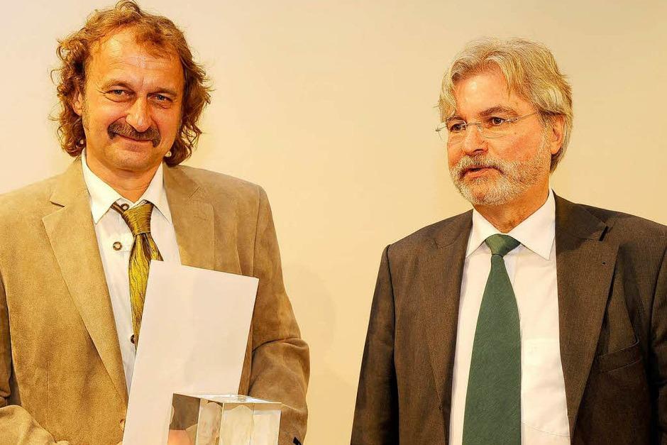 BZ-Chefredakteur Thomas Hauser und Jörg Laskowski. (Foto: Ingo Schneider)