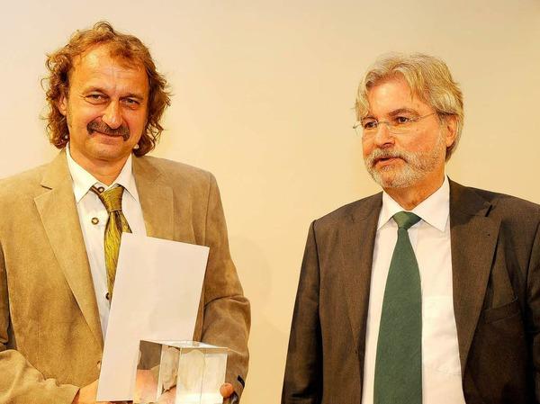 BZ-Chefredakteur Thomas Hauser und Jörg Laskowski.