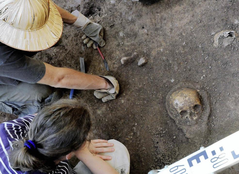 Sehr gut erhalten ist dieser Schädel, ...der St. Severin Kapelle gefunden haben  | Foto: Markus Zimmermann