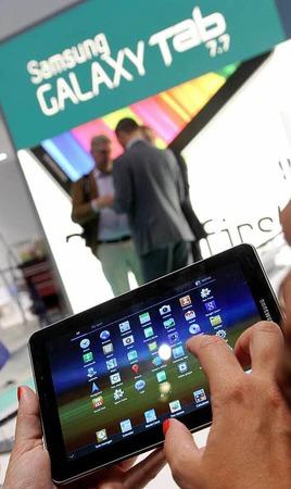 Der neue Tablet-Computer Galaxy Tab 7.7 von Samsung.