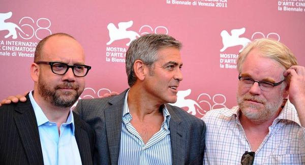"""Paul Giamatti, George Clooney und Philip Seymour Hoffmans stellten """"Die Iden des März"""" vor."""