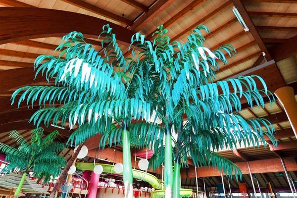 Der Gestalter des heutigen Bades hatte ein Faible für künstliche Pflanzen. Diese Palmen sind mittlerweile ganz schön vergilbt.