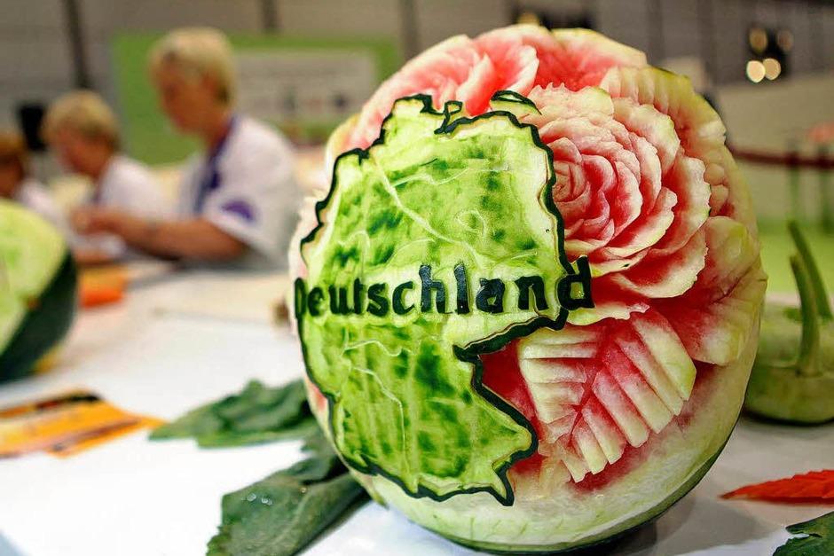 Eine Melone mit Deutschlandkarte (Foto: dpa)