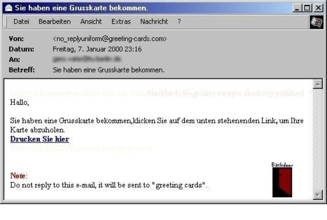 Backdoor - Öffnet etwa in der Internet...System für Angreifer zugänglich macht.