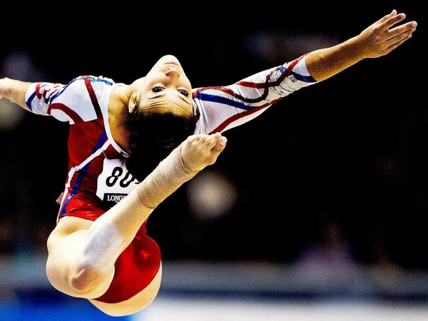 Die US-Amerikanerin Alexandra Raisman am Boden