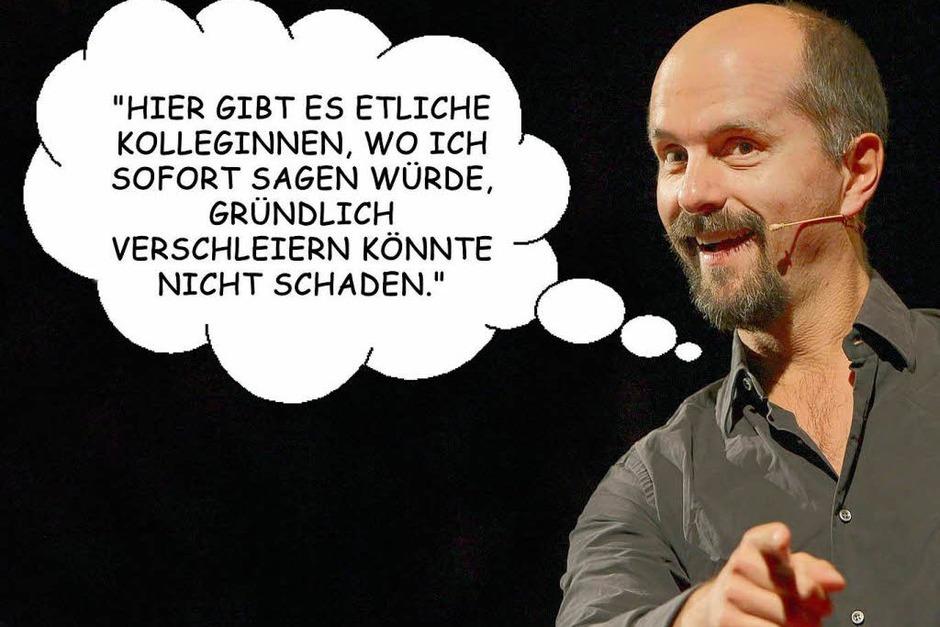 Stromberg - seine besten Sprüche. (Foto: Andreas Weihs, Illustration: Rock)