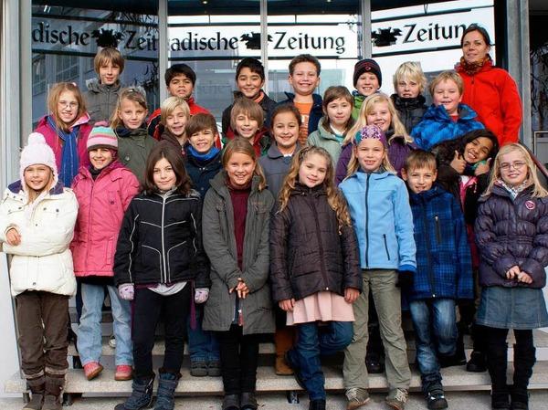 Die Klasse 4a der Freien Evangelischen Schule Lörrach mit ihrer Lehrerin Ruth Meier.