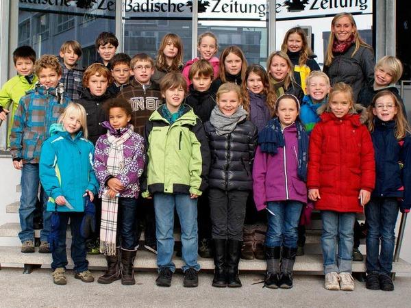 Die Klasse 4d der Freien Evangelischen Schule Lörrach mit ihrer Lehrerin Stefanie Ruß.