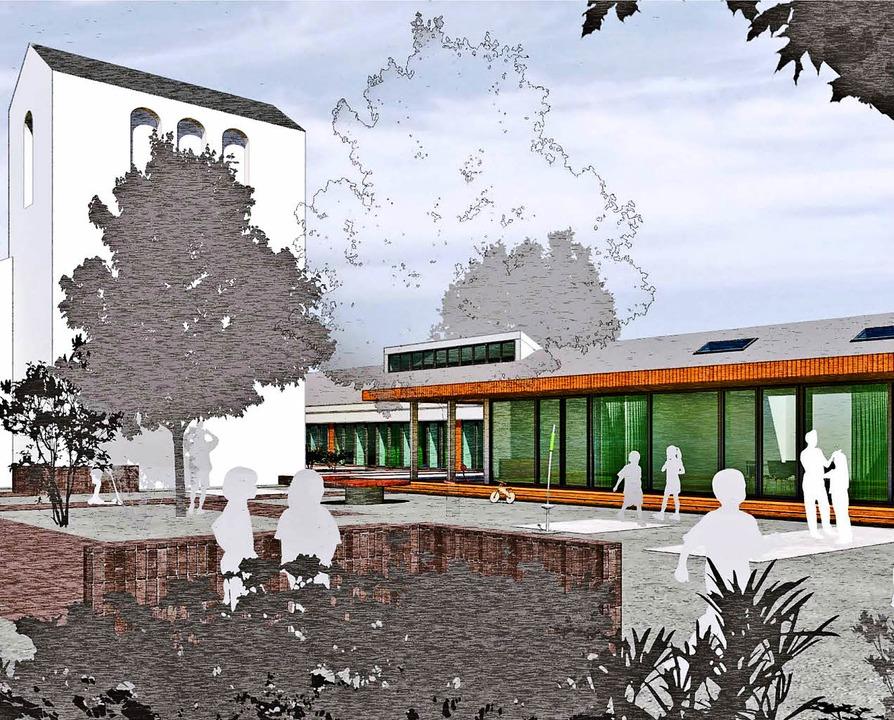 Skizze des geplanten Kindergartens und...ls an der Lukaskirche in St. Georgen.   | Foto: Entwurf: Baurmann/Dürr Architekten