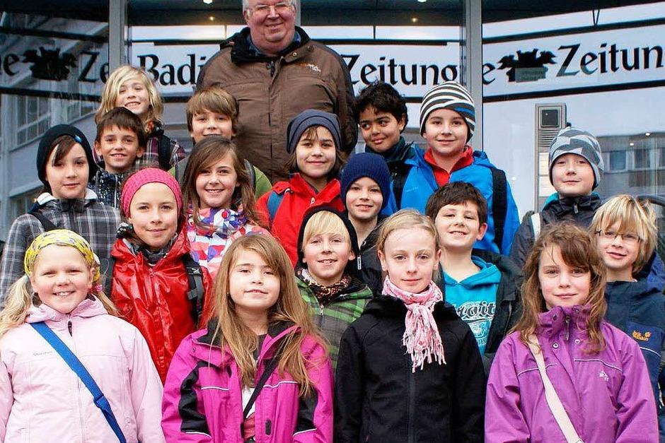 Die Klasse 4 der Grundschule Diersburg aus Hohberg mit ihrem Lehrer Bernhard Göhringer (Foto: BZ)