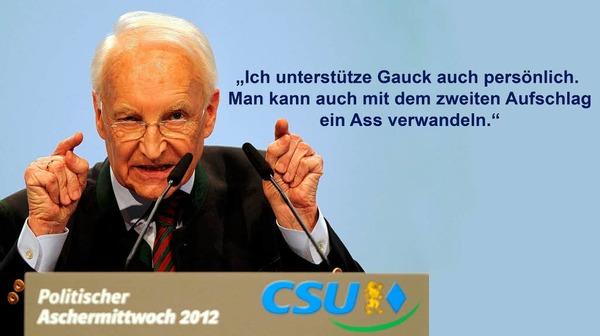 Bayerns früherer Ministerpräsident und CSU-Chef Edmund Stoiber am Aschermittwoch zur Kür von Joachim Gauck zum Bundespräsidenten-Kandidaten.