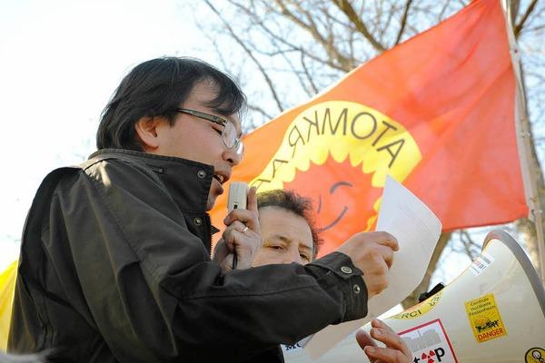 Anti-Atomenergie-Demonstration in Fessenheim am Jahrestag des Kernkraftwerk-Unglücks in Fukushima.