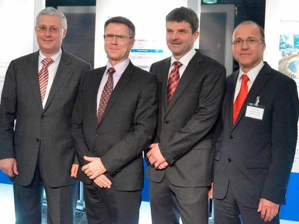 OB Dietz, Hagen Pfundner sowie die WWT-Geschäftsführer Peter Krause und Peter Blubacher (von links)