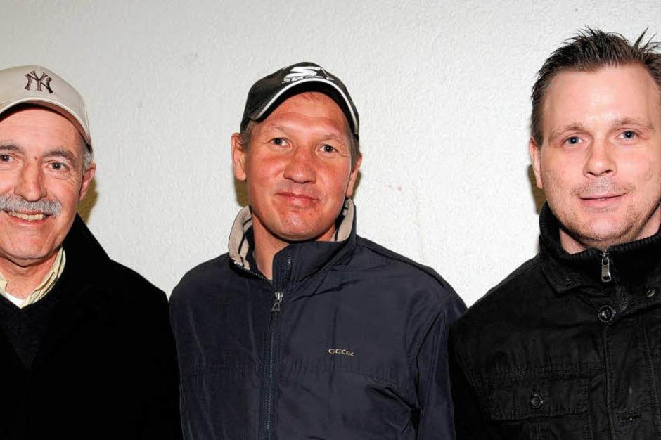 Drei Legenden des Freiburger Eishockeys: Thomas Dolak, Ravil Khaidarov und Petr Mares (v.l.n.r.). (Foto: Patrick Seeger)