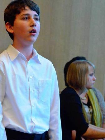 Musikschüler gestalteten das Rahmenprogramm: Joel Mayer und Maria Krey