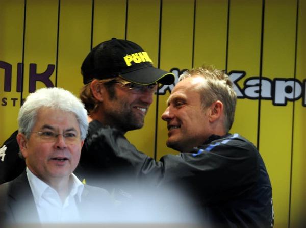 BVB Pressesprecher mit Klopp und Christian Streich.